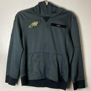 Philadelphia Eagles boys military gray hoodie. L